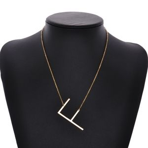 Jewelry - Gold Letter F Initial Monogram Statement Necklace